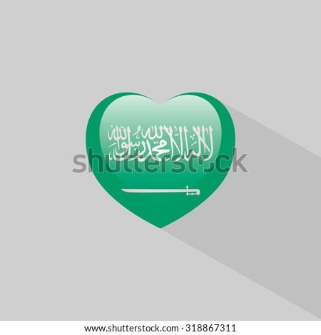 Love Saudi Arabia symbol Heart flag icon. Vector illustration. - stock vector