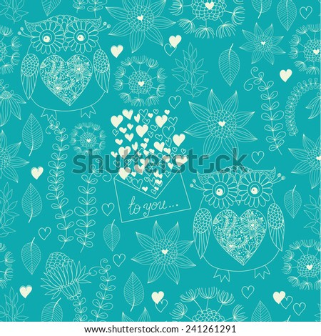 Love seamless pattern with flowers, post letters, hearts and owls. Love mail. Owl texture. Flowers vector illustration. - stock vector