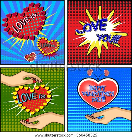Love set. Comics style Valentine's day card with a female hand, holding a heart on blue, red and green backgrounds. Vector illustration. - stock vector