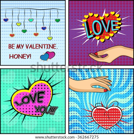 Love set. Comics style Valentine's day card with a female hand, holding a heart on the blue, red and green background. Vector illustration - stock vector