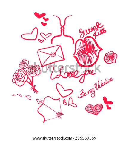Love set.Valentine`s Day attributes. Vector doodles - stock vector