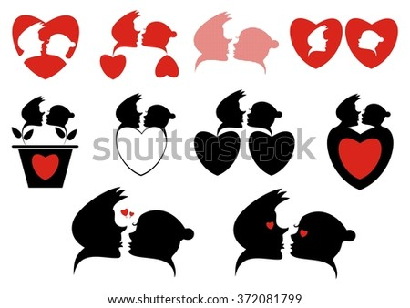 Love silhouette icon collection. Loving couples and hearts silhouette collection for design  - stock vector