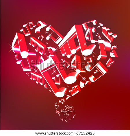 Love Song Vector Valentine's Day Card - stock vector