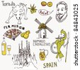 Love Spain, doodles symbols of Spain. - stock photo