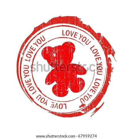 Love stamps. Teddy - stock vector
