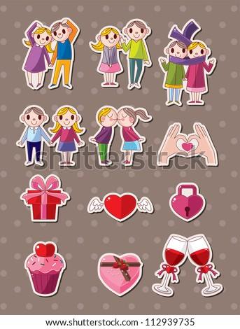 love stickers - stock vector
