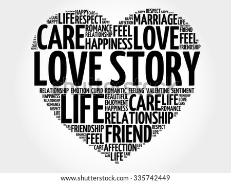 Love Story concept heart word cloud