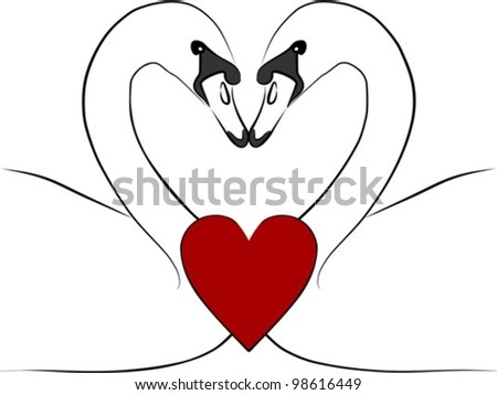 love swans with red heart - freehand illustration on a white background, vector - stock vector