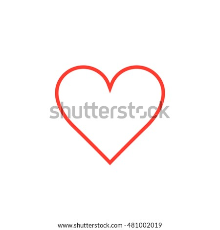 Love symbol. red heart line icon, outline vector logo illustration, linear pictogram isolated on white