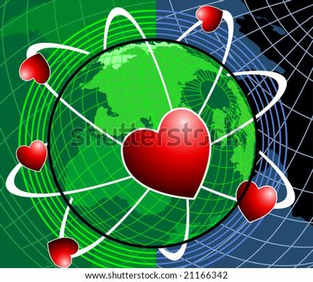 love symbol rotating around earth - stock vector