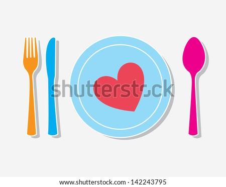 Love tableware over white background vector illustration - stock vector
