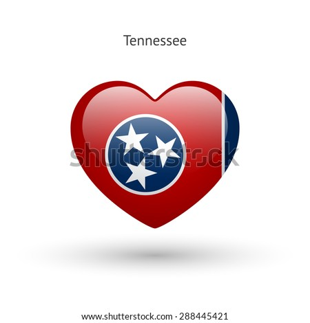 Love Tennessee state symbol. Heart flag icon. Vector illustration. - stock vector