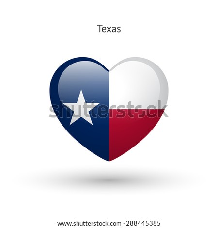 Love Texas state symbol. Heart flag icon. Vector illustration. - stock vector