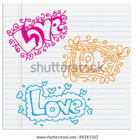 Love text Doodle abstract icon