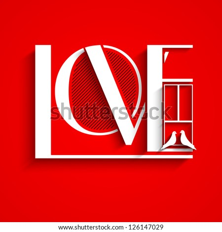 Love text on red background for Valentines Day. - stock vector