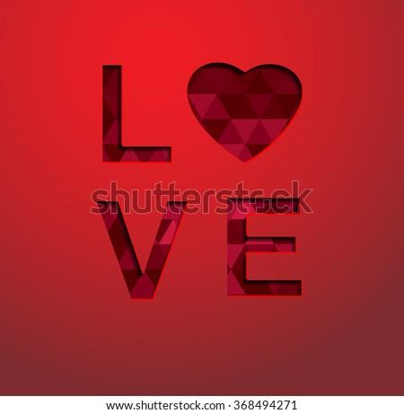 love text, vector - stock vector