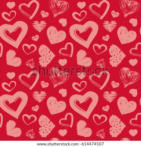 Love Theme Hearts Valentines Day Seamless Stock Vector 614474507 ...