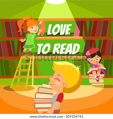 Love to read. Design concept about children's love to reading and books.Little kids reading at library. Vector illustration - stock vector