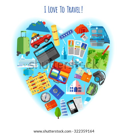 Love travel concept heart shaped composition stock vector love to travel concept heart shaped composition of vacation tourism pictograms background poster flat abstract vector sciox Image collections