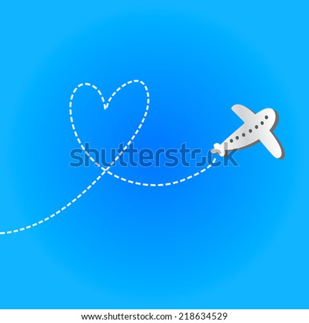 Love Travel concept illustration: an airplane flying in the blue sky leaving behind a love shaped smoke trail. Heart in the sky. Vector flat illustration. - stock vector