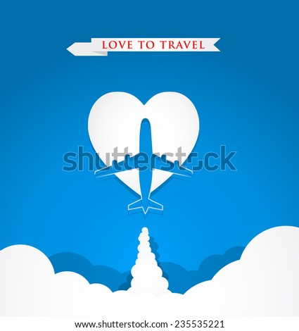 Love travel concept with airplane on heart shape on blue background - stock vector