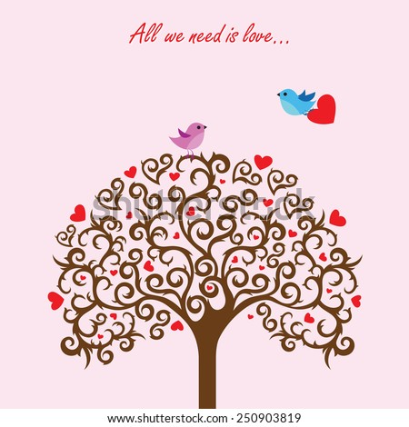 Love tree and birds in love - stock vector