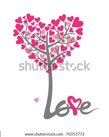 love tree for the valentines card - stock vector