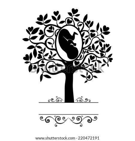 Love tree. Human fetus inside the womb. Vector Illustration - stock vector