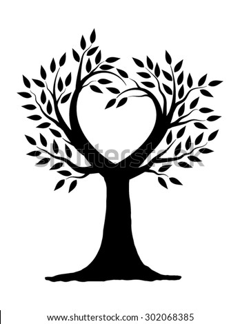 Love Tree Illustration Design in Black and White - stock ...