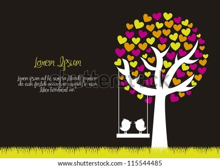 love tree with birds over grass, black background. vector - stock vector