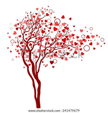 Love tree with hearts in branches - stock vector