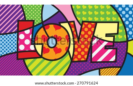 Love Typo Modern Pop Art Artwork Stock Vector 270791624 - Shutterstock