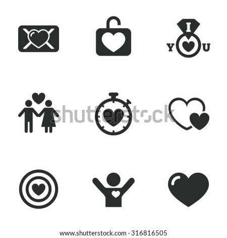 Love, valentine day icons. Target with heart, oath letter and locker symbols. Couple lovers, boyfriend signs. Flat icons on white. Vector - stock vector