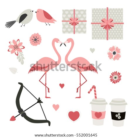 Love. Valentine's day. Cute vector set.