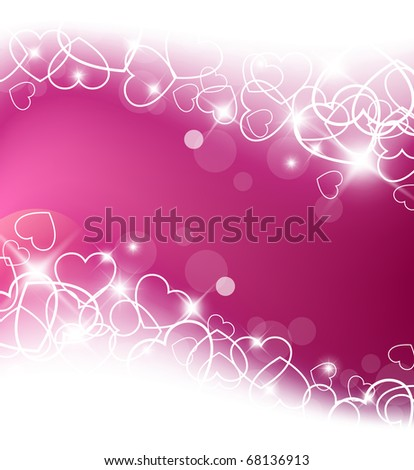 Love vector background made from white hearts (valentine's day card) - stock vector