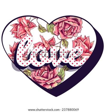 Love. Vector print for girl t shirt with heart and roses. Vector element for your design - stock vector