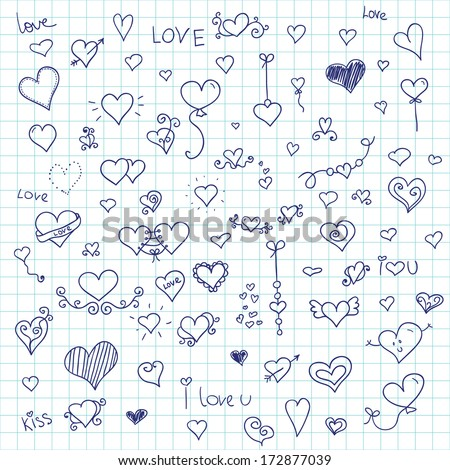 Love vector  set. Doodle inc hearts on cell background.  - stock vector