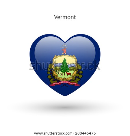 Love Vermont state symbol. Heart flag icon. Vector illustration. - stock vector