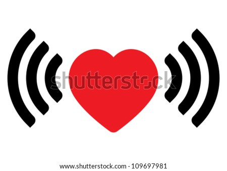 Love via internet sign - stock vector