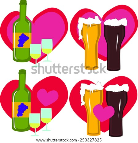 Love wine and beer on background of heart - stock vector