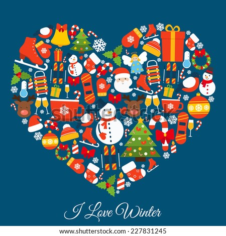Love winter concept with new year and christmas decorative elements in heart shape vector illustration - stock vector
