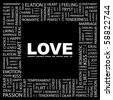 LOVE. Word collage on black background. Illustration with different association terms. - stock vector
