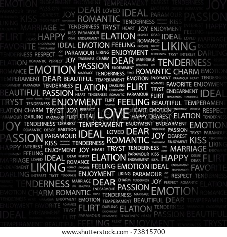 LOVE. Word collage on black background. Vector illustration. Illustration with different association terms.