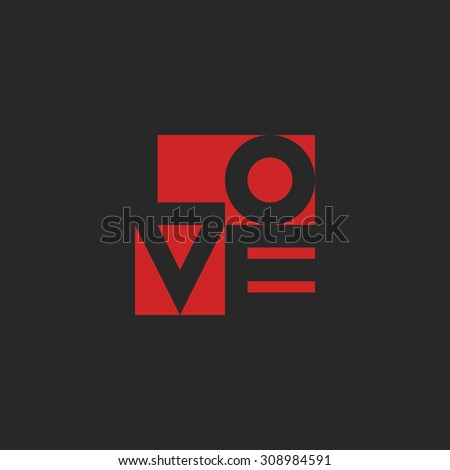 Love word, mockup print black and red graphic design for t-shirt or poster background - stock vector