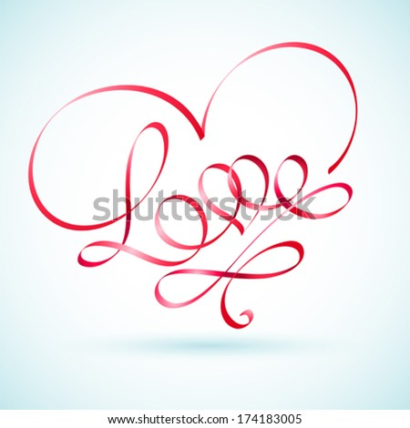 Love word ribbon in a shape of a heart - stock vector