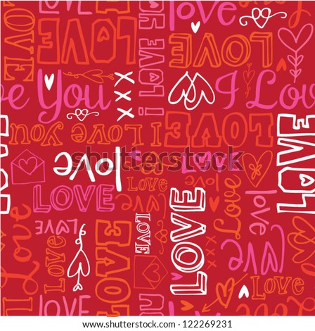 Love words seamless background - stock vector