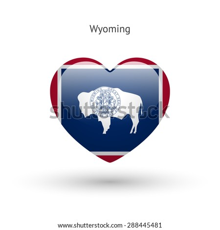 Love Wyoming state symbol. Heart flag icon. Vector illustration. - stock vector