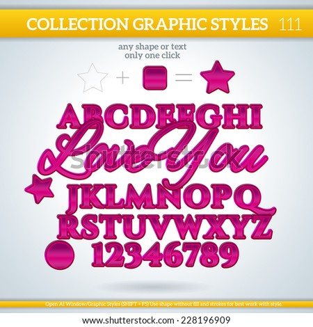 Love You Graphic Styles for Design. Graphic styles can be use for decor, text, title, cards, events, posters, icons, logo and other.  - stock vector