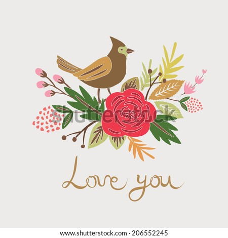 Love You greeting card - stock vector
