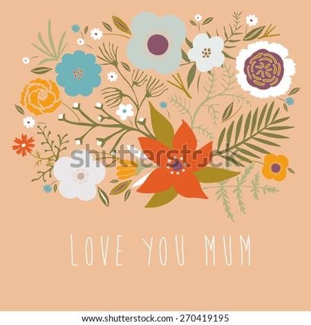 Love You Mum - stock vector